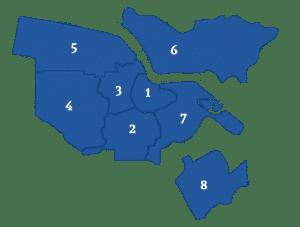 Makelaars vergelijken in verschillende stadsdelen in Amsterdam (kaart)